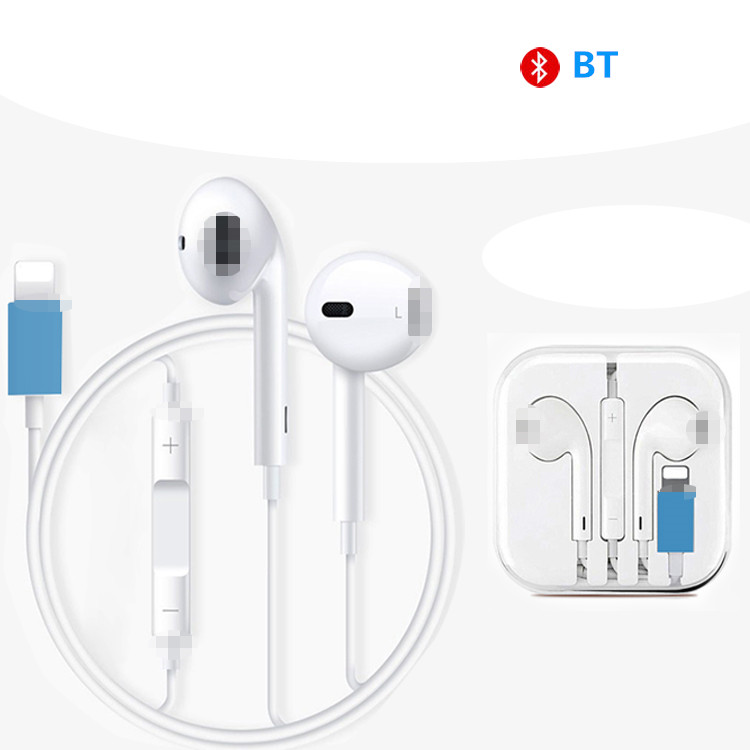 In ear BT earphone stereo headphones for iPhone 7 I8 X S,factory price wired control headset with mic and voice controller