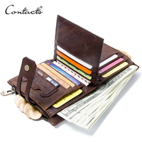 2019 Wholesale Hot Sale Retro Casual Genuine Leather Men's Purse Bifold Money Clip Coin Cards Holder Men Wallet With Zip Pocket