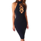 Fashion Bandage Bodycon Dresses Summer Lace Up Party Deep V Neck Skinny Sexy Club Dress