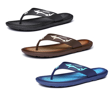 2019 Hole Fashion Point leather flip flops for men slipper  Navy Blue