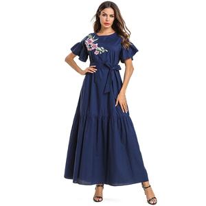 071117c2100 Zakiyyah 7523 Summer Collection Short Sleeve Muslim umbrella dress with  Floral Plain Design Causal style