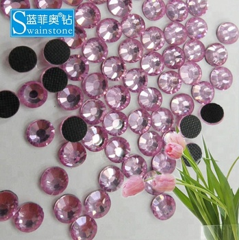 0619N ss6-30 2mm-6mm Round Pink Hotfix Rhinestones Flatback Light Rose Iron on Stones Crystals for Clothes