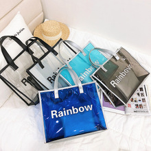 New large-capacity summer beach PVC shopping transparent shoulder <strong>bag</strong> <strong>tote</strong> handbag 2 Pieces Set Women <strong>Bag</strong>