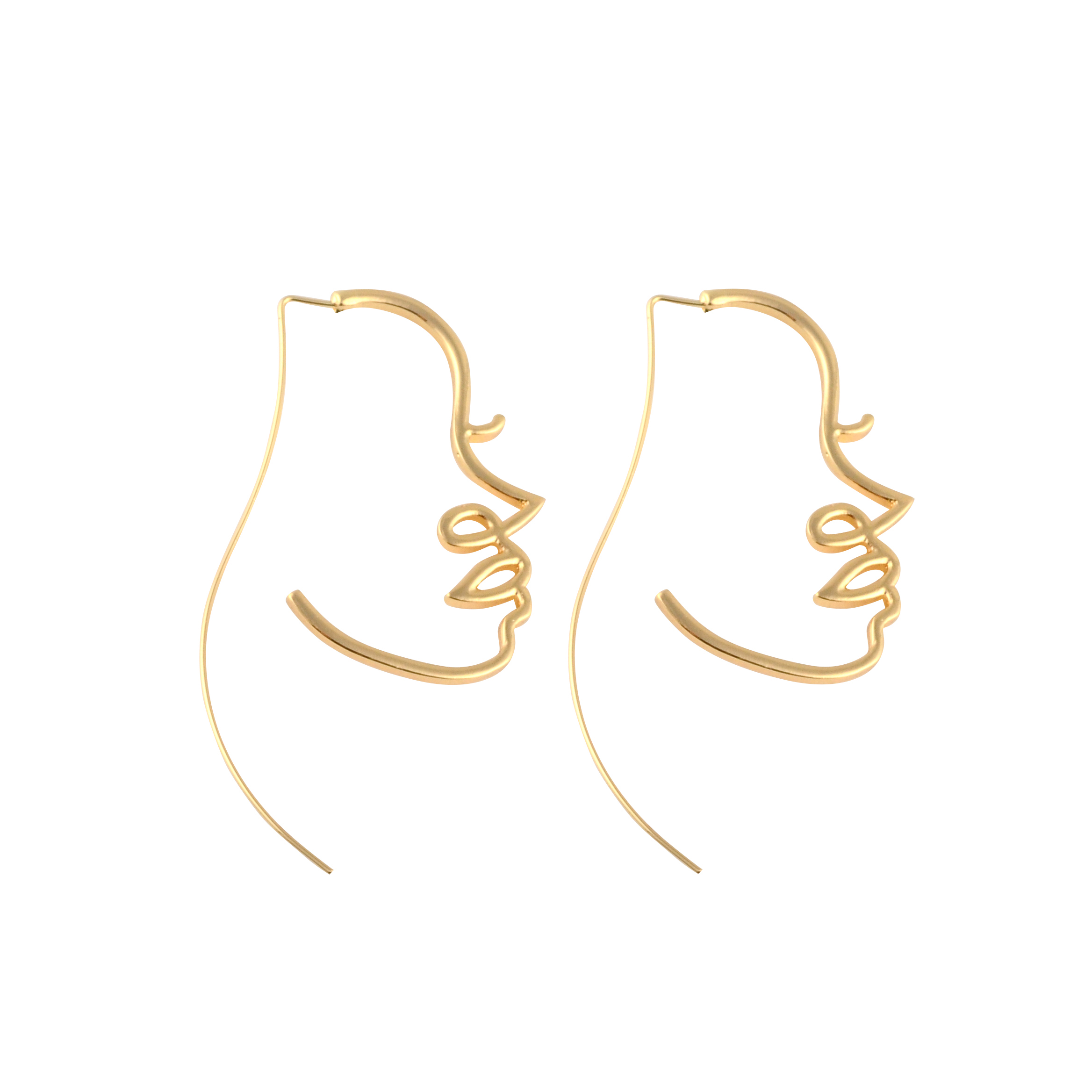 Unique Charming Gold/Silver Filled Face Dangle Wire <strong>Earrings</strong> Girls Artsy Outline Long <strong>Earrings</strong> For Women