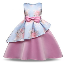 Pabasana European style pink printed flower silk party princess <strong>girl</strong> <strong>dress</strong> with high quality