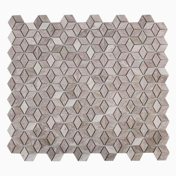 3D Mosaic Wall Tile, White Wood Marble