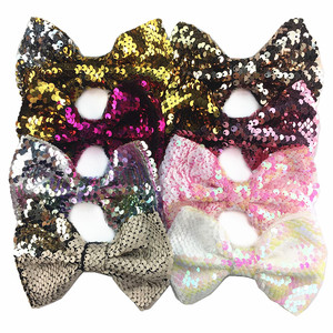 Hot-selling 5 inch double-sided flip sequins bow discolored fish scale headdress 18 color