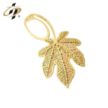 Corrosion process maple leaf gift personalized  gold metal bookmark