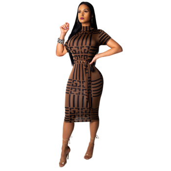 9069-1 short sleeve round collar waistband women summer bodycon midi dresses 2019