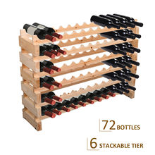 72 Bottle <strong>Shelf</strong> Wine Rack Holder Standing Holds Storage Fir Wood Cellar Standing
