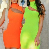 FS0199D 2019 sexy bright colour summer women high collar dress