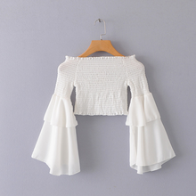 Summer Off The Shoulder Top Women Puff Flare Sleeve White Chiffon Cropped Top <strong>Blouse</strong>