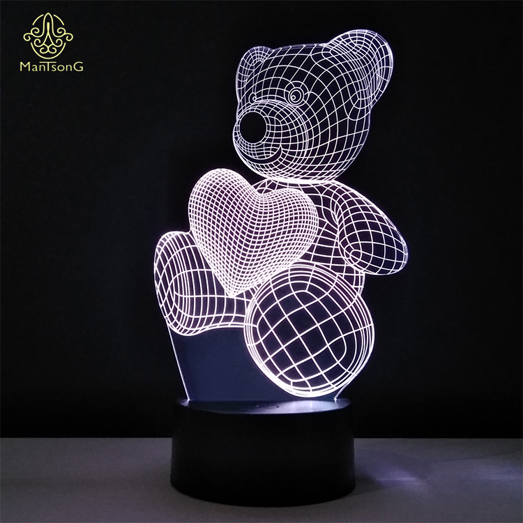 Cute Bear 3D LED Table Lamp 3D LED Night <strong>Light</strong> 3d Illusion Night <strong>Light</strong> For Kids Gift