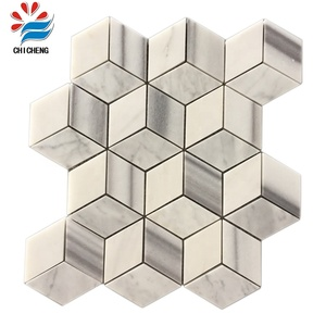 Polished Cube 3D Carrara Wall Decoration Marble Mosaic tile