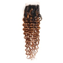 50% Off Discounts 4X4 Free/Middle/Three Part 1B 30 Ombre Color Deep Wave Peruvian Human Hair Closure