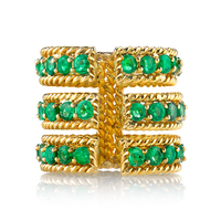 925 sterling silver big fashion jewelry emerald three row open twist 24 carat gold ring