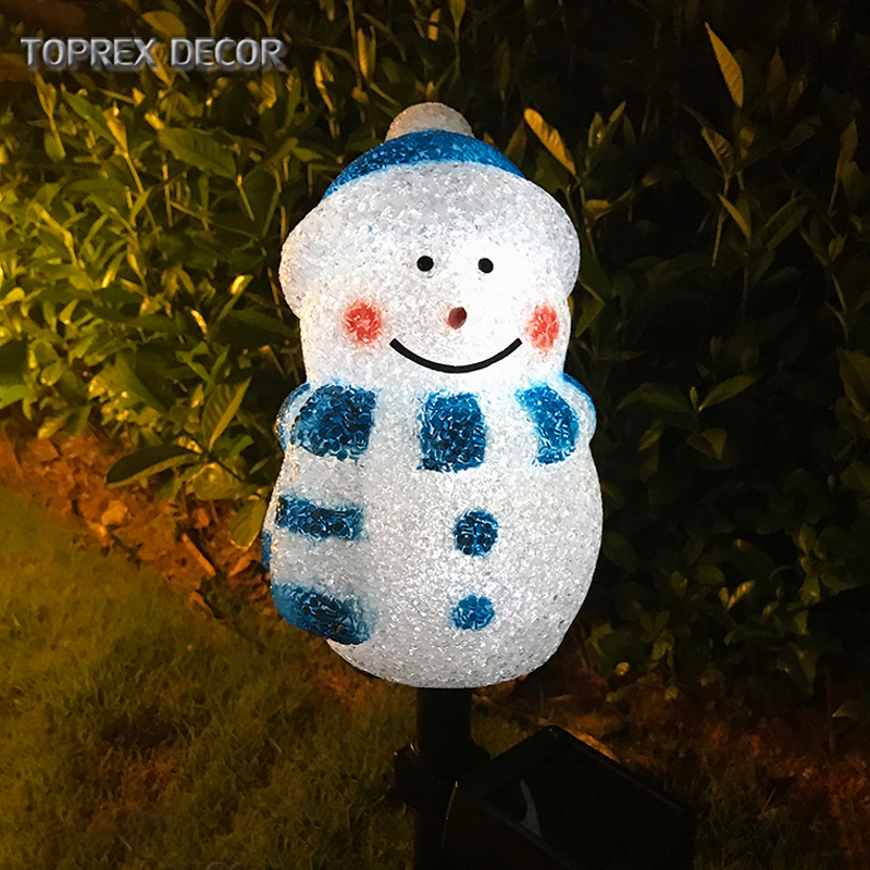 Personalized waterproof outdoor garden led lighted snowman decoration solar <strong>christmas</strong>