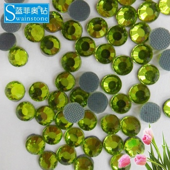Y1013 Olivine color  SS12 400gross wholesale round hotfix lead free strass, korean low lead strass hotfix for garment