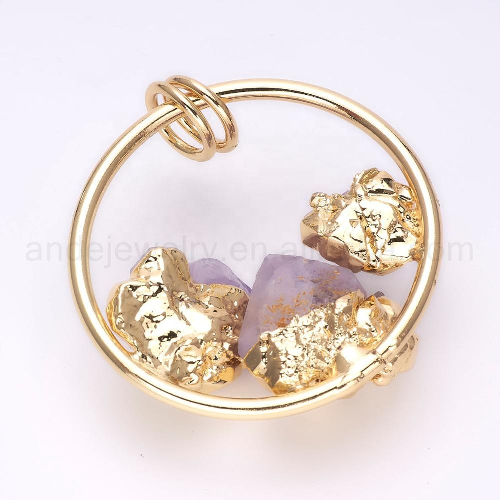 Raw Amethyst Necklace February Birthstone Gold Metal Ring Raw Crystal Pendant