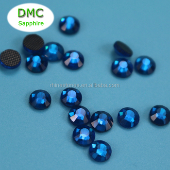 0827W China manufacturer wholesale Ho-fix dmc crystals 10SS sapphire flat back crystals for dress decoration