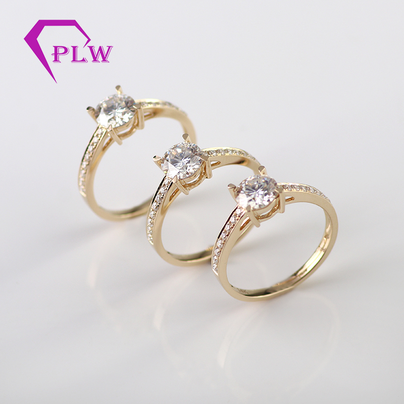 wholesale price yellow gold moissanite promise ring for engagement 1ct round lab created diamond