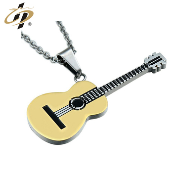 Free design custom 3D gold silver black Music Series Guitar Pendant metal dog tag with necklace