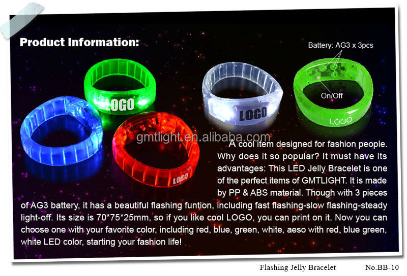 Wholesale bright light led plastic flashing bracelet