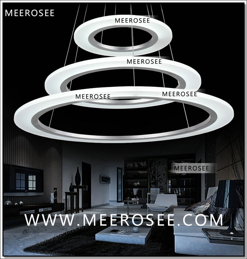 Meerosee contemporary led pendant light acrylic circle ring meerosee contemporary led pendant light acrylic circle ring chandelier lighting with led smd5050 mozeypictures Gallery