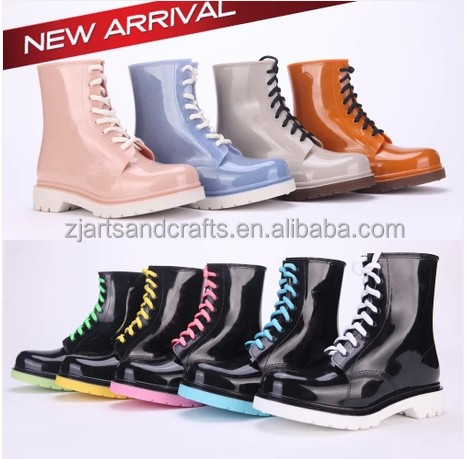 Waterproof tie lace print pvc martin rain boots flat rain boot for women