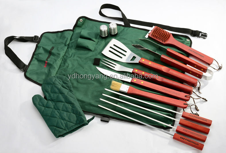 hot sell s/s barbecue grill tool set with apron 6pcs bbq set