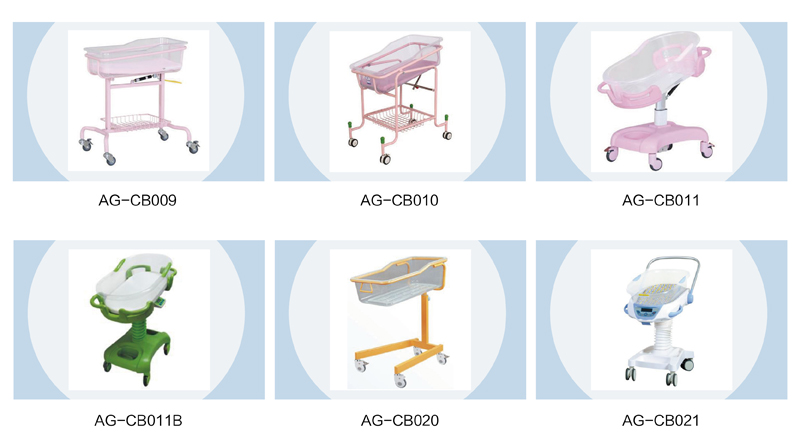 AG-CB011A 4 castors with braking system newborn bed