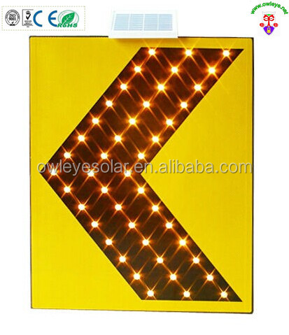 solar guider sign yellow color ,LED traffic safety guide sign ,solar power road sign