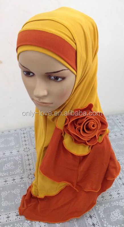 new design flower two peices muslim hijab islamic scarf ML098