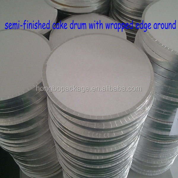 "round silve corrugated cake board/cake drum 1/2"" thick"