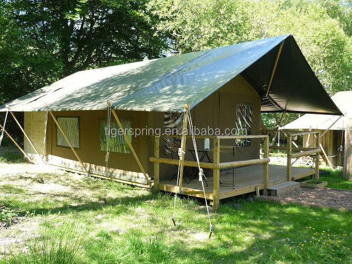 Luxury three rooms family camping lodge canvas safari tent for sale