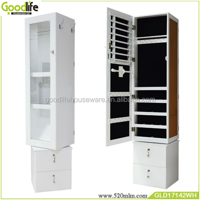 Modern rotating large cabinet mirror jewelry organizer