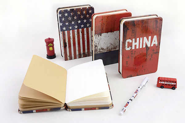 LANGUO Notizbuch Cuadernos quaderni fashion Flag gifts kraft paper metal cover school notebooks