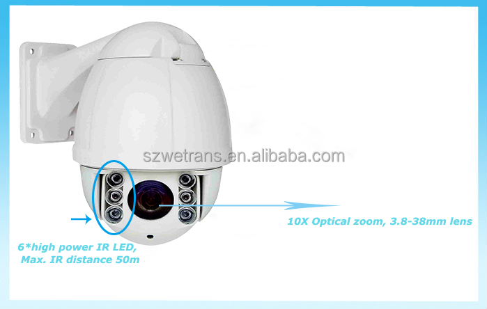 4.0MP 5.1-51mm Optical Zoom 360 Degree Pan and 90 Degree Tilt Auto Flip High Speed Dome with RS485 IP Surveillance Camera