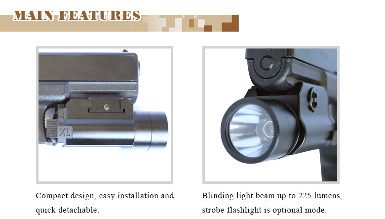 LASERSPEED LS-F1 Sub-compact Mini Tactical 3W 225 lumens flashlight for handguns and rifles
