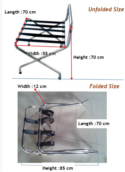 Guangzhou Stainless Steel Hotel Room Folding Luggage Rack For Bedroom