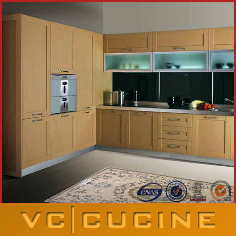 Shaker style oak wood veneer kitchen cabinets