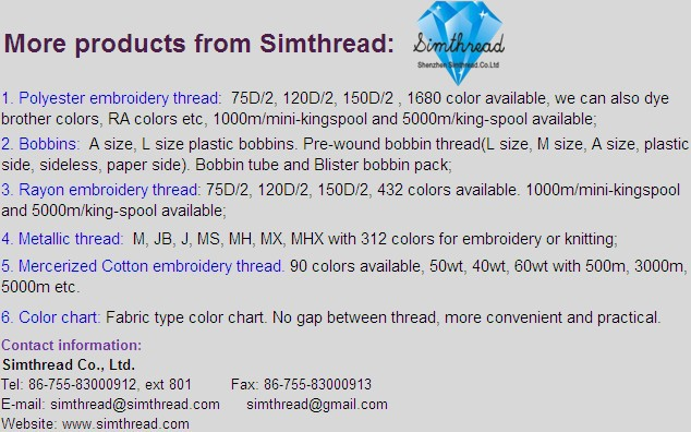 wholesale 100% 1000m mini king spool 120D/2 polyester thread for embroidery