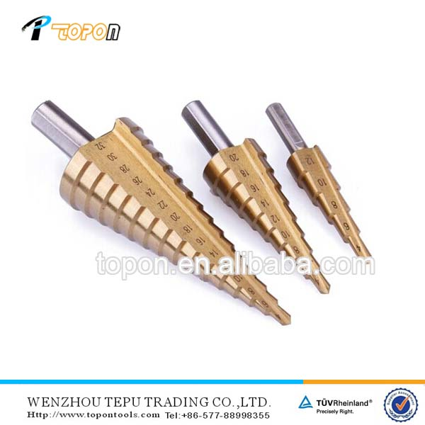 OEM Bright, Titanium, Black finish hss step drill bit (straight/spiral flute)