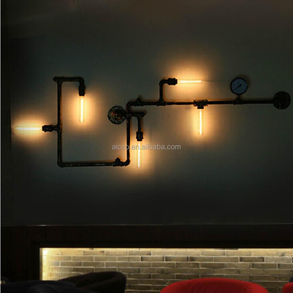 Popular Loft Industrial tubo do Vintage lâmpada de parede com Edison lâmpada ...