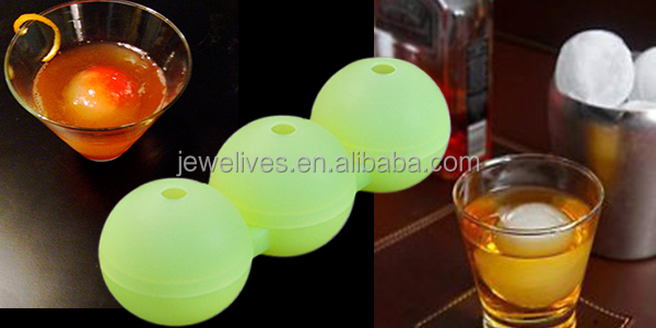 "2.5"" round shape personalized silicone ice cube tray"