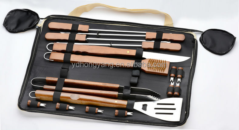2017new style wooden handle barbecue tools 16pcs s/s bbq tools set in bag