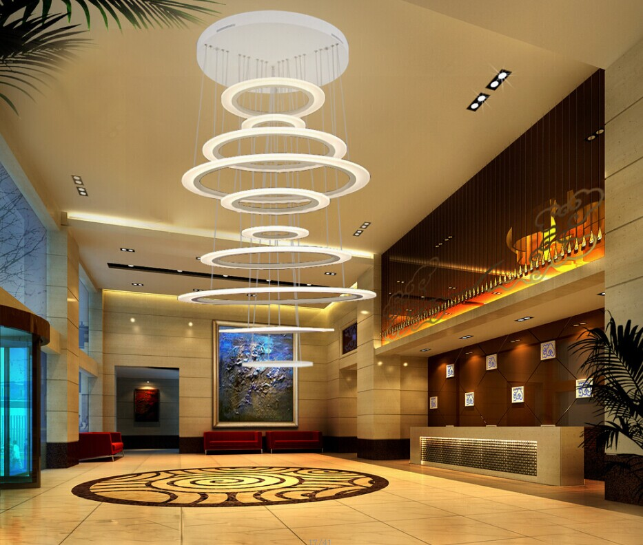 Circle Large Led Chandelier Light For Hotel Lobby Buy
