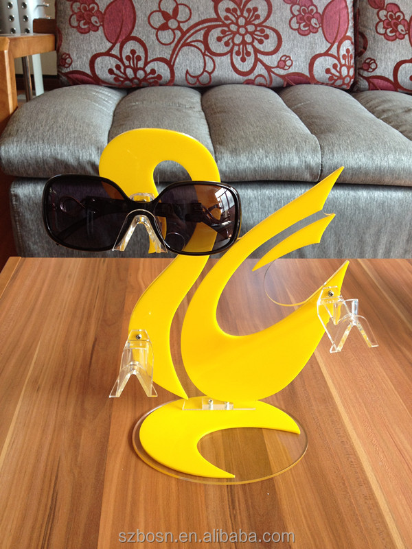CE/SGS approved swan shpare good quality acrylic slatwall sunglass display with sunglass display