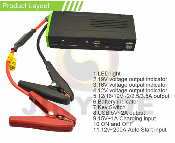 Car accessories 26800Mah multi-function jump starter with air compressor