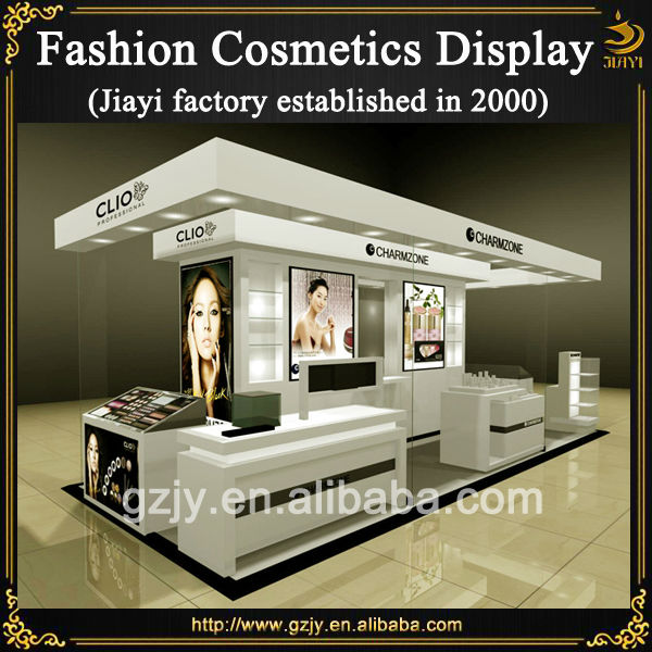 High grand makeup kiosk design with glass showcase and cosmetics rack display stand for mall or trade show display furniture